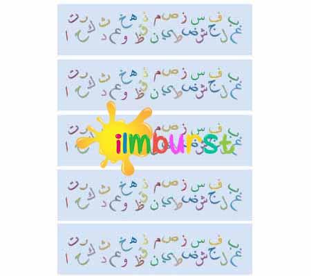 Arabic Alphabet Border Display Portrait Blue