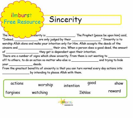 Sincerity (Ikhlas) Fill in the Blanks