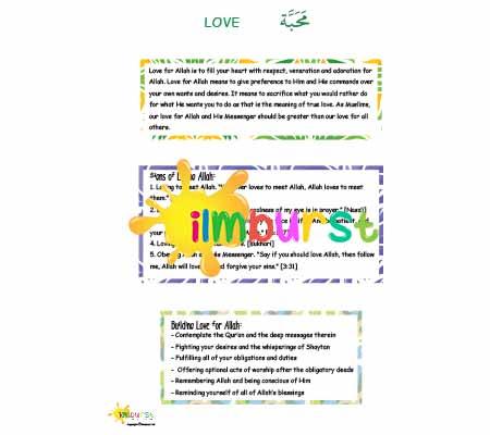 Love (Mahabbah) Infosheet Higher Level