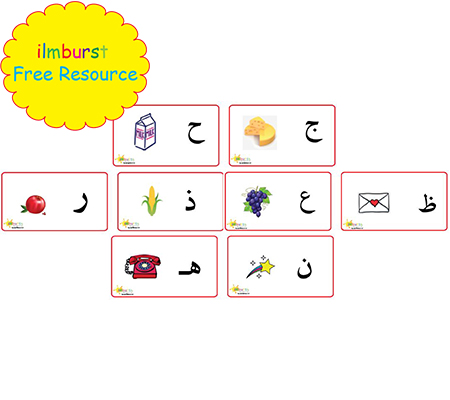 Arabic Alphabet Flashcards, Letters with Pictures Pack, Alif to Yaa