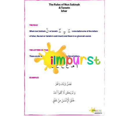 Nun Sakinah & Tanwin – Izhar